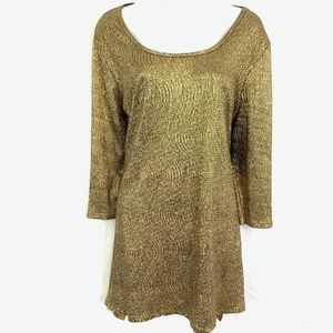 ANTTHONY Gold Tunic Stretch Knit Top Blouse Shirt